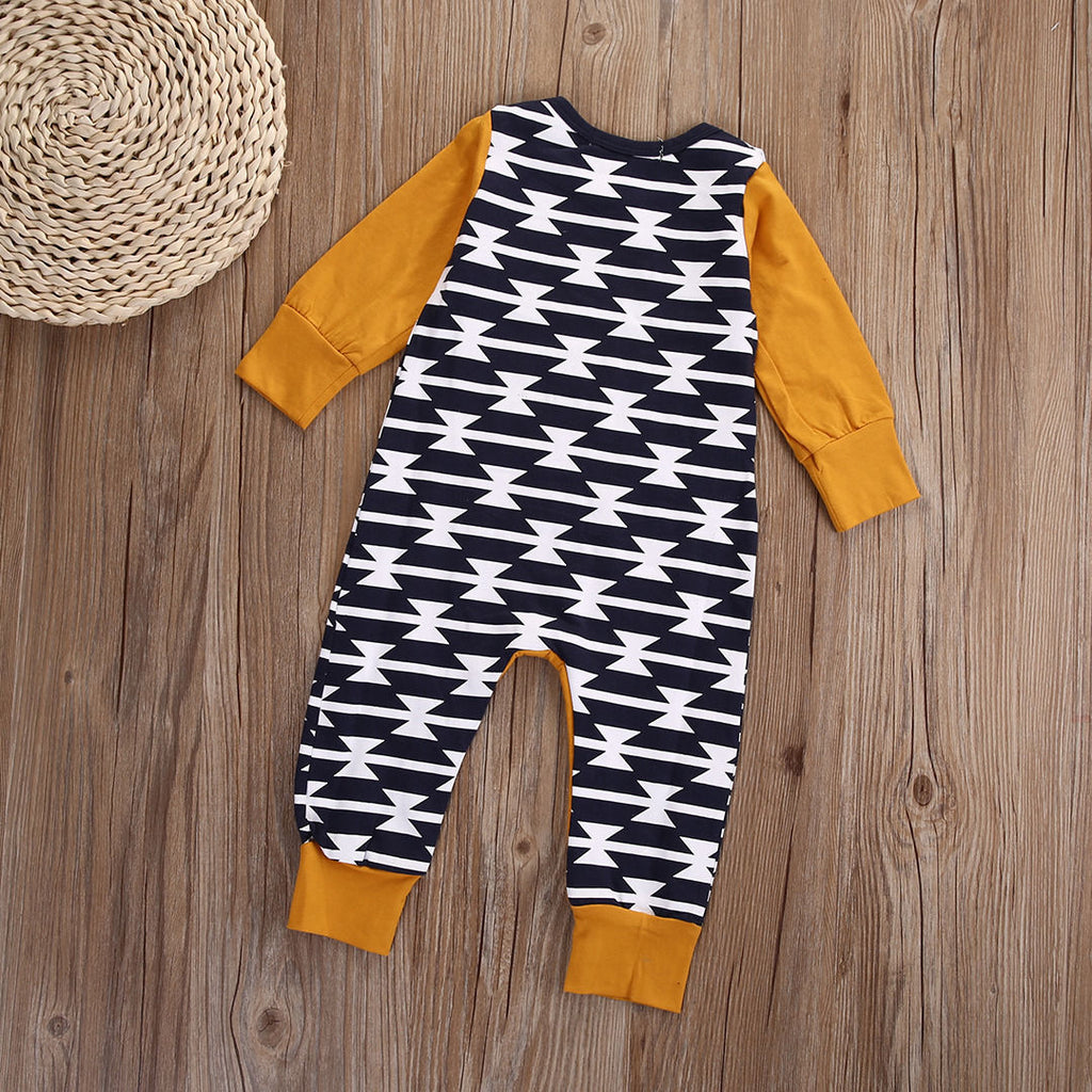 Orange Seafarer Geometric Romper - Rompers - baby-petite