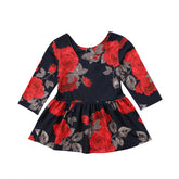 Black Lady Red Floral Dress