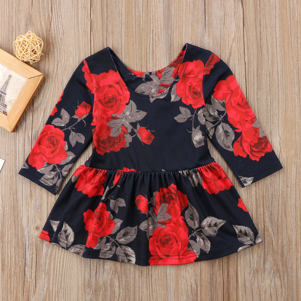 Black Lady Red Floral Dress - Dresses - baby-petite