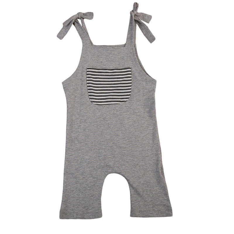 Pocket Strap Striped Singlet Romper - Rompers - baby-petite
