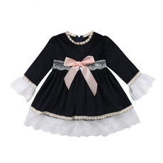 Black Formal Dinner Lace Bow Dress