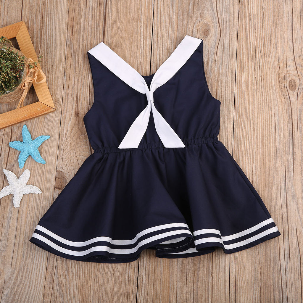 Sailor Nautical Blue Bow Knot Dress - Dresses - baby-petite