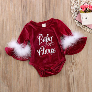 Velvet Feather Baby Clause Romper