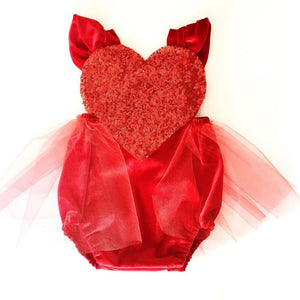 Big Heart Red Glitter Christmas Tulle Romper