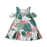 Tropical Summer Cold Shoulder Ruffle Dress