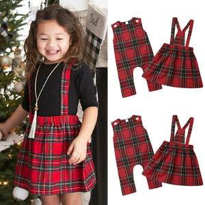 Christmas Sisters Matching Plaid Dress & Romper