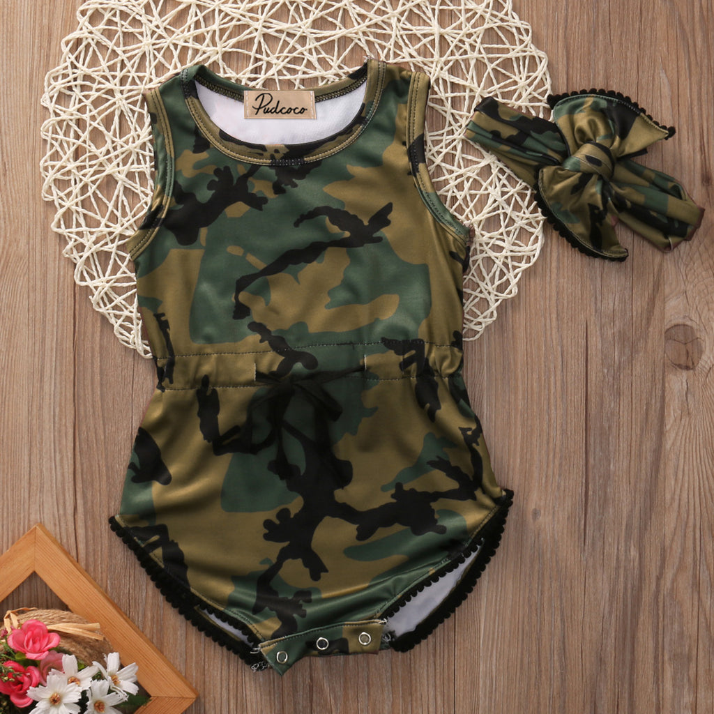 Camo Survival Girl Baby Romper Set - Rompers - baby-petite