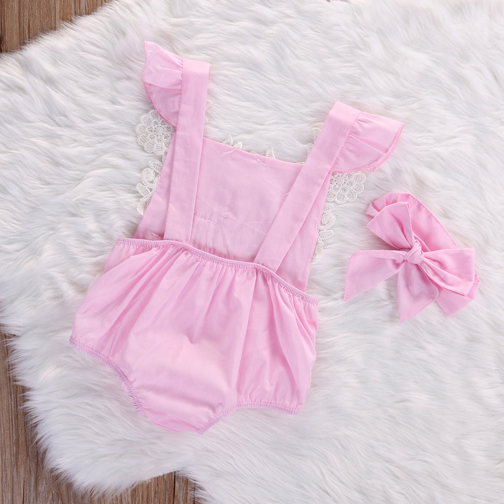 Laced Daisy's Pink Floral Romper - Rompers - baby-petite
