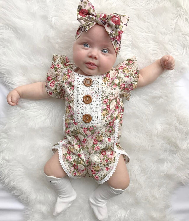 Garden Spring Bloom Lace Floral Romper - Rompers - baby-petite