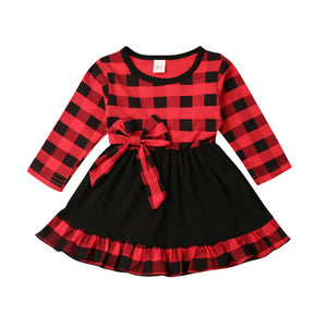 Toddler Baby Kid Girl Christmas Clothes Long Sleeve Plaid Party Dress  High Waist Tutu Dresses