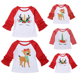 Deer & Unicorn Ruffle Dream Long Sleeve T-Shirt