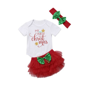 My 1st Christmas Glitter T-Shirt & Tulle Set