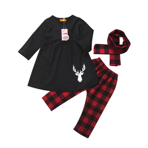 Black Deer Long Sleeve Top & Plaid Pants Set