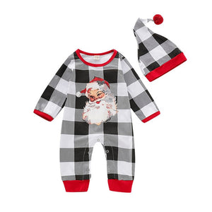 Winking Santa Plaid Romper With Matching Hat