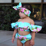 Off Shoulder Pink Floral Swimsuit With Matching Headband - Swimsuits - baby-petite