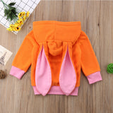 Mallory Bunny Eat Hooded Orange Sweater - Sweaters & Hoodies - baby-petite