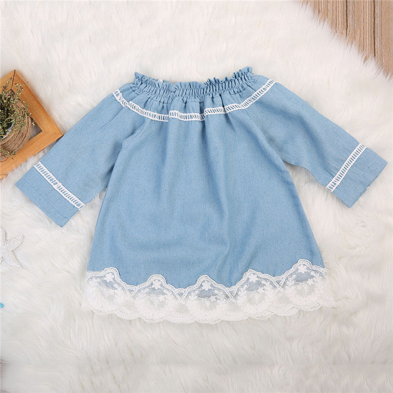 Breezy Blue Lace Denim Dress - Dresses - baby-petite