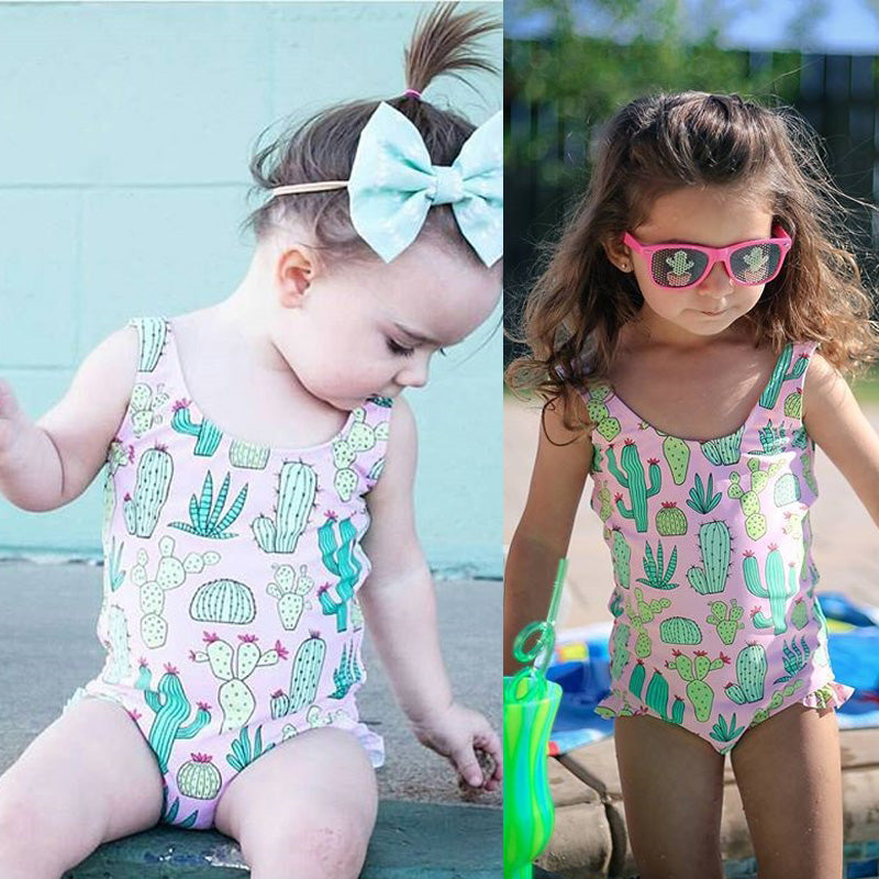 Bubble Gum Pink Cactus Swimsuit With Matching Cap - Swimsuits - baby-petite