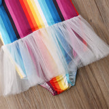 Vivid Rainbow White Tulle Swimsuit - Swimsuits - baby-petite