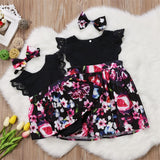 Sweet Ebony Lace Floral Dress With Matching Headband - Dresses - baby-petite