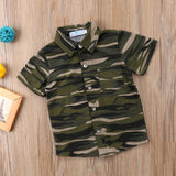 Camouflage Short Sleeved Buttow Down Shirt
