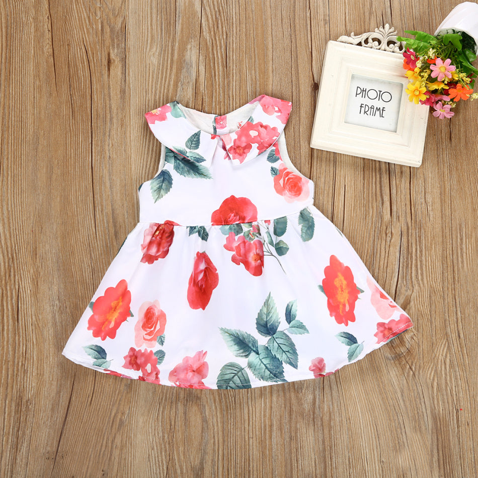 Botanic Scarlet Floral White Dress - Dresses - baby-petite