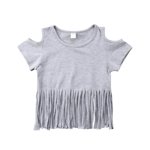 Cold Shoulder Fringe Cotton Casual Top