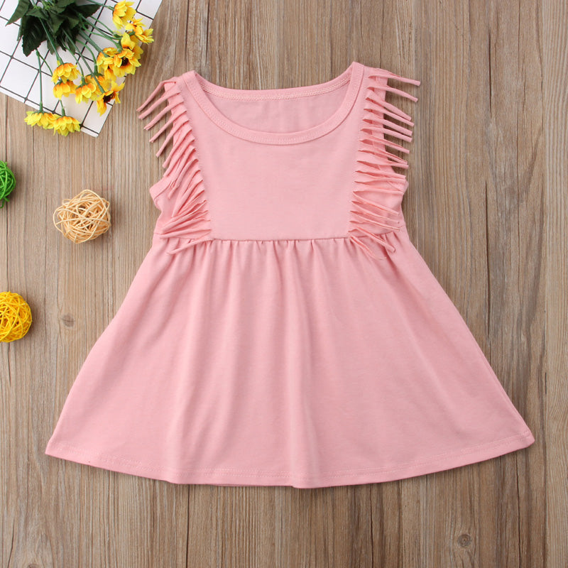 Blush Pink Tassel Summer Dress - Kids Petite - Baby & Kids Clothing