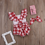 Red French Plaid Romper With Matching Headband