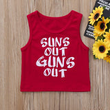 Suns Out Guns Out Sleeveless Red Top
