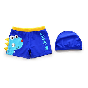 Grrr Blue Dinosaur Swimming Trunk With Matching Bathing Cap