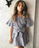 Off shoulder Button Down Plaid Bell Sleeve Summer Dress