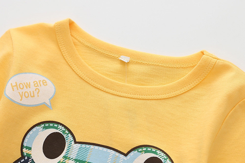 Happy Plaid Frog Casual Cotton T-Shirt - Tops - baby-petite