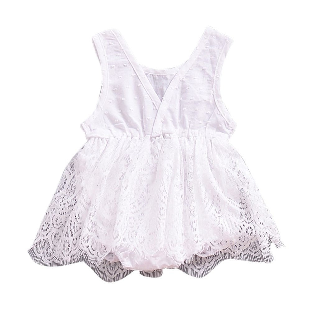 Vogue Lace Tulle Dotted Dress - Dresses - baby-petite