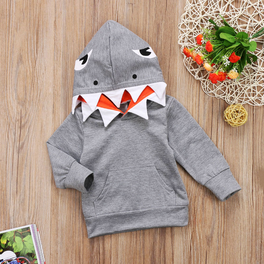 Grey Googly Eyes Shark Long Sleeve Hoodie