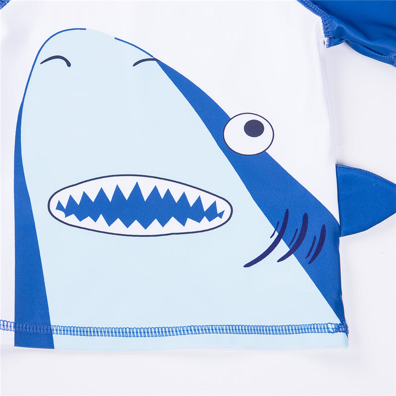 Two Piece Big Blue Shark Swimming Suit With Matching Hat