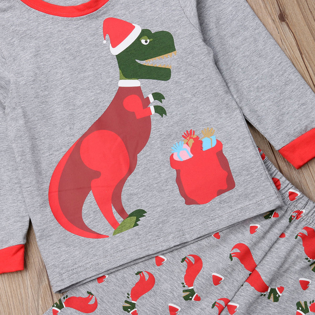 Merry Christmas Dino Two Piece Cotton Pajamas