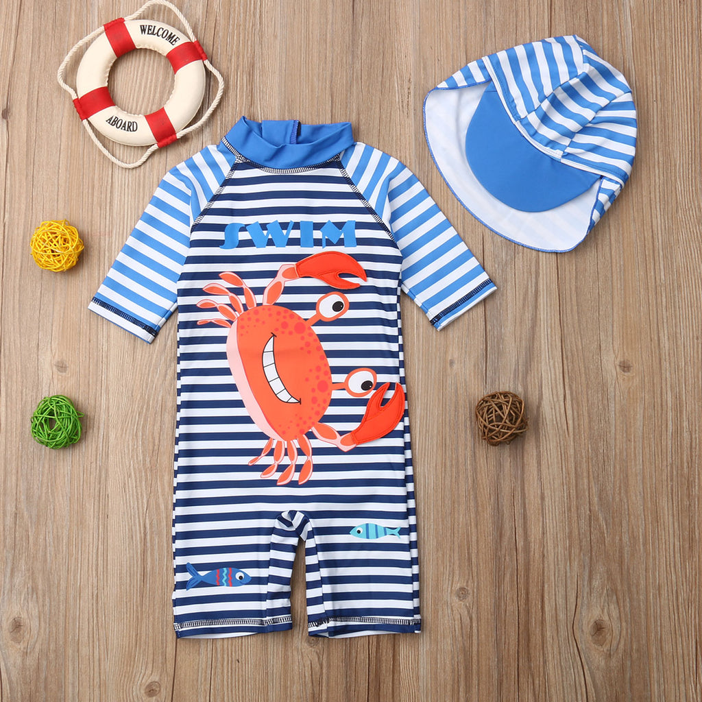 Little Striped Crabby Swimming Suit With Matching Hat