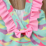 Pastel Printed Backless One Piece Swimsuit