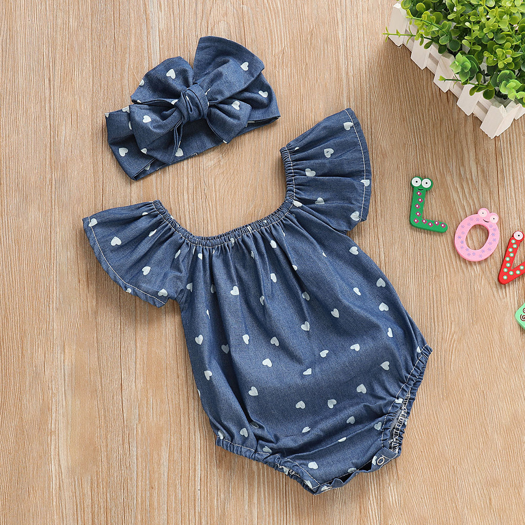 Sweetheart Ruffle Sleeve Denim Romper With Matching Headband - Rompers - baby-petite