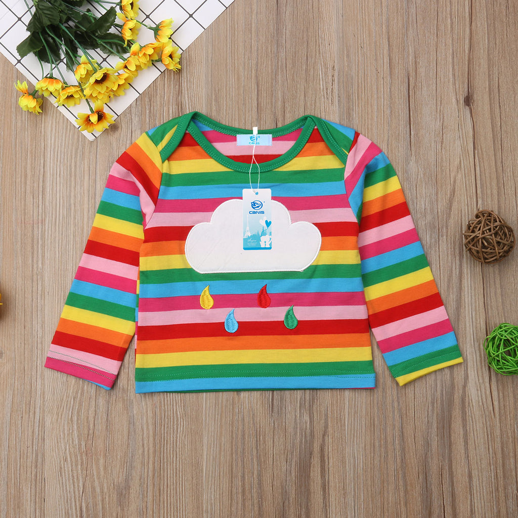 Rainbow Teardrop Cloud Long Sleeve Cotton Top