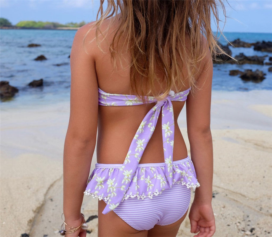 Sweet Lilac Lace Halter Neck Swimsuit - Swimsuits - baby-petite