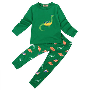 Green Dino Two Piece Cotton Pajamas