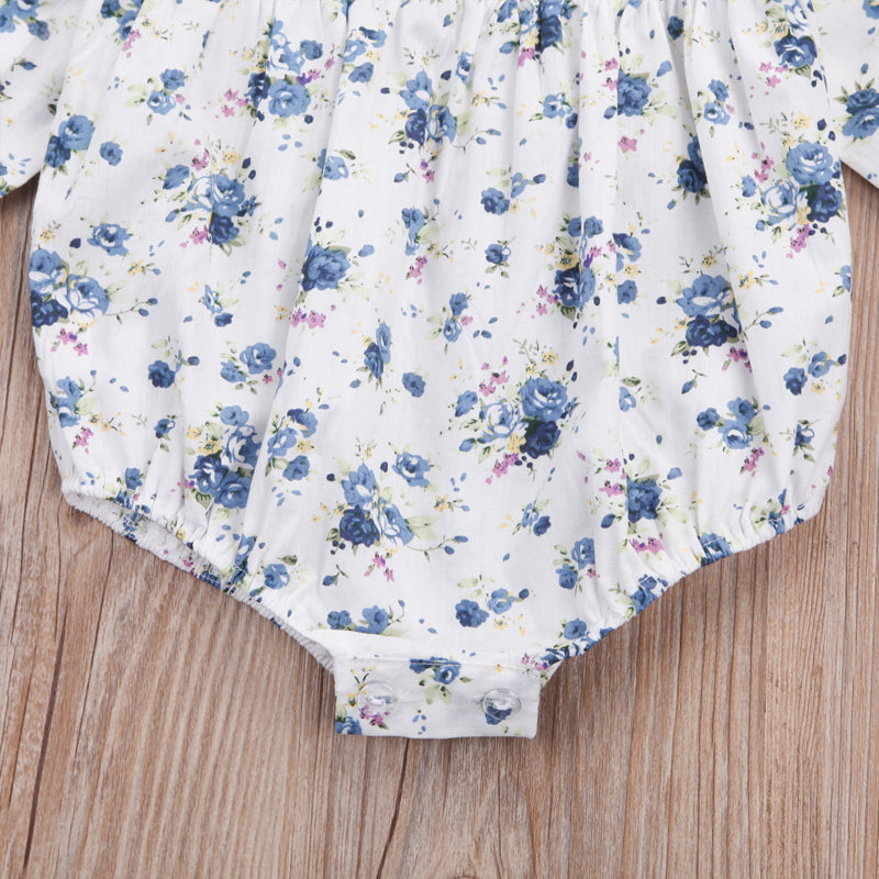 Blue Bubbly Floral Ruffle Collar Romper - Rompers - baby-petite