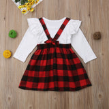 White Ruffle Red Plaid Overall Dress - Dresses - baby-petite