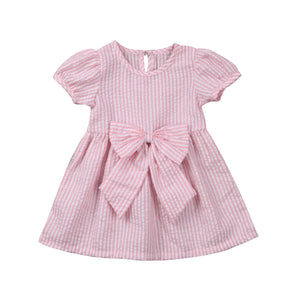 Kimberley Bow Knot Striped Dress - Dresses - baby-petite