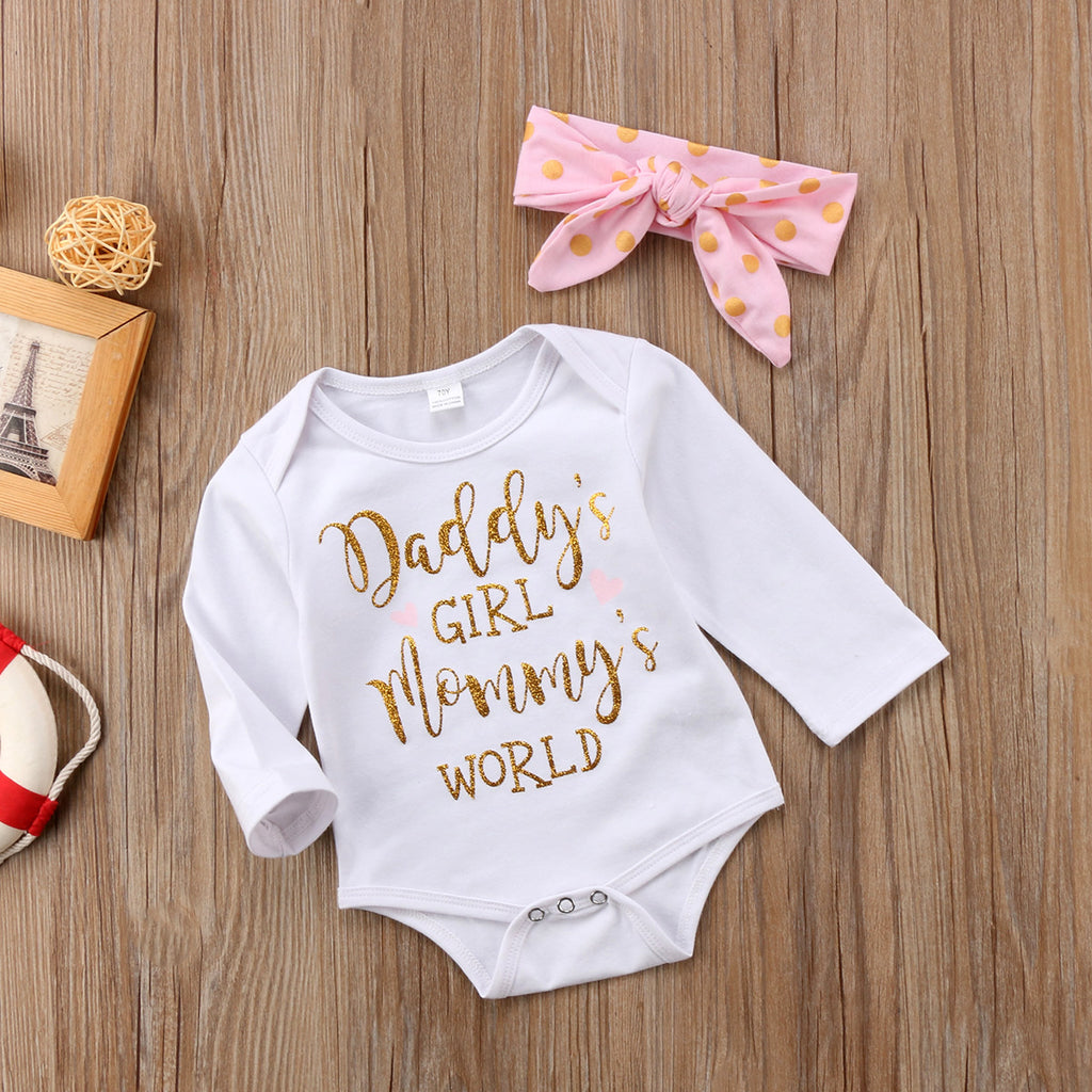 Daddy's Girl Mommy's World Romper With Matching Headband - Rompers - baby-petite
