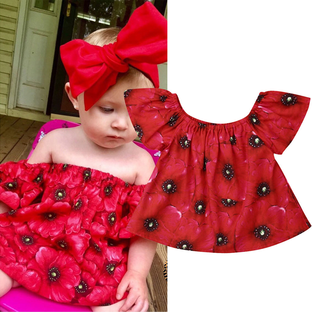 Red Red Floral Stretchable Off Shoulder Top
