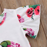 Magenta Roses Butterfly Sleeve Romper