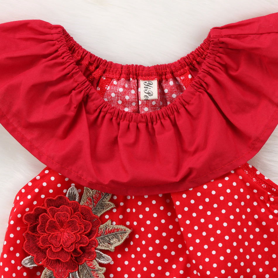 Red Polka Rose Embroidery Romper
